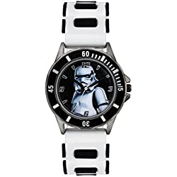 Star Wars Children's Quartz Watch with Multicolour Dial Analogue Display and White Rubber Strap STM3518