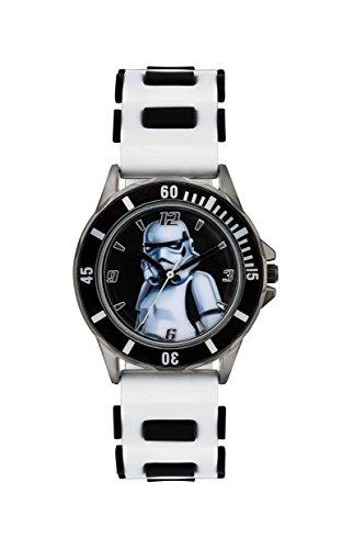 Star Wars STM3518 - Reloj analógico Infantil con Mecanismo de Cuarzo, Esfera Correa de Goma Blanca