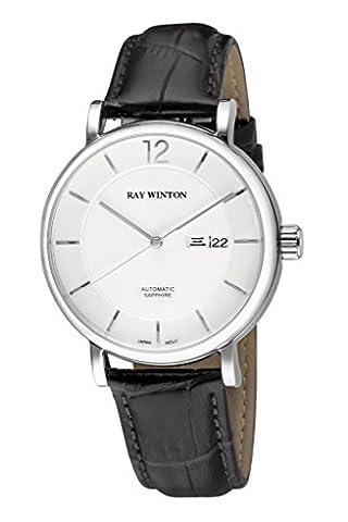 Ray Winton pour homme Wi0607automatique analogique Cadran blanc Croc-embossed véritable Cuir Noir montre