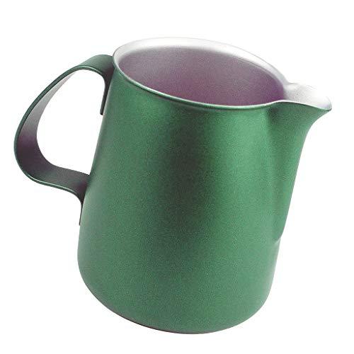 F Fityle Milchkännchen, Edelstahl Milchkanne perfekt für Espressomaschinen, Grün 500ml