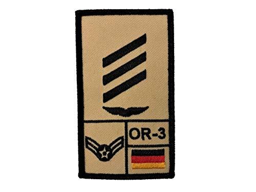 Café Viereck ® Hauptgefreiter Luftwaffe Bundeswehr Rank Patch mit Dienstgrad - Gestickt mit Klett - 9,8 cm x 5,6 cm