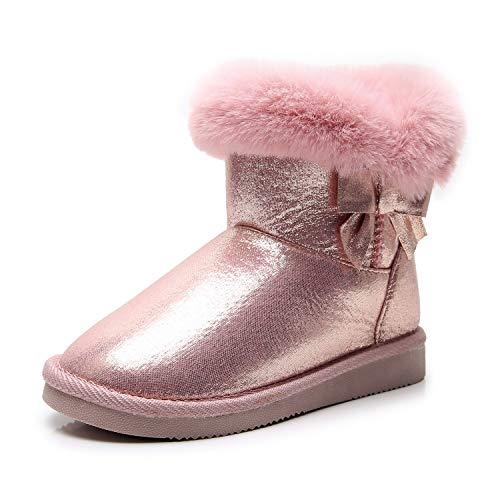 Apakowa Kids Toddler Girls Warm Fur Winter Bowknot Snow Boots (Toddler/Little Kid)