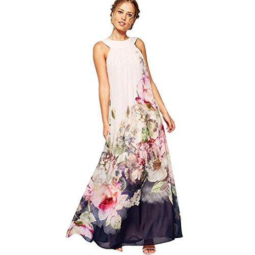 Huihong Damen Strand Swing Blumen Neckholder Chiffon Kleid Maxi Schulterfrei (S) (Polka Dot Chiffon-kleid)