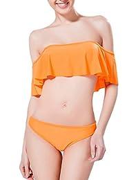 DELEY Niñas Mujeres Hoja De Lotus Hermosa Bandeau Triángulo Bikini Trajes De Baño Swimsuit Swimwear