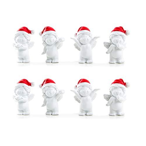 Santa Give-away Figurine de Noël avec ange rouge et blanc 6 cm, Lot de 8