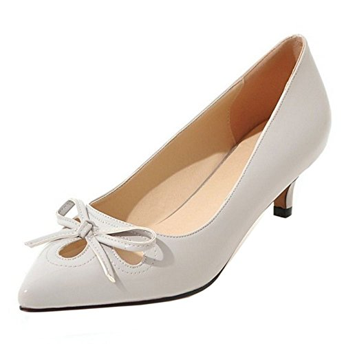 Grau Ohne Schuhe Mode Verschluss Kitten Heel Damen Mdchen Pointed Toe Taoffen Pumps nPqIZ6