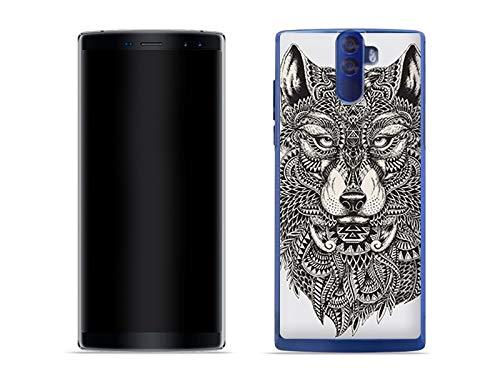 etuo Handyhülle für Doogee BL12000 - Hülle Fantastic Case - Azteken Wolf - Handyhülle Schutzhülle Etui Case Cover Tasche für Handy