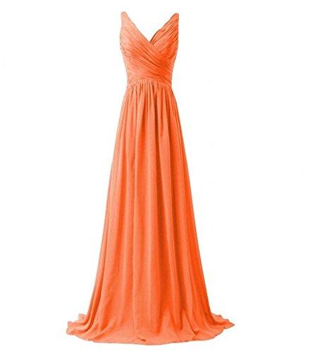 Milano Bride Einfach V-ausschnitt Zwei-traeger Abendkleider Partykleider Brautjungfernkleider Lang A-linie Rock Orange