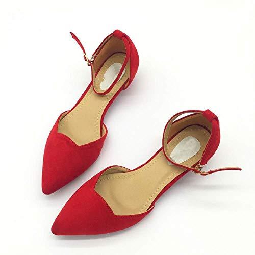 Sexy Frauen Schnalle Low Heels Pumps spitz Flock Heels Schuhe für Frau Damen einzelne Schuhe blau (Rockport-pumpen-frauen-schuhe)