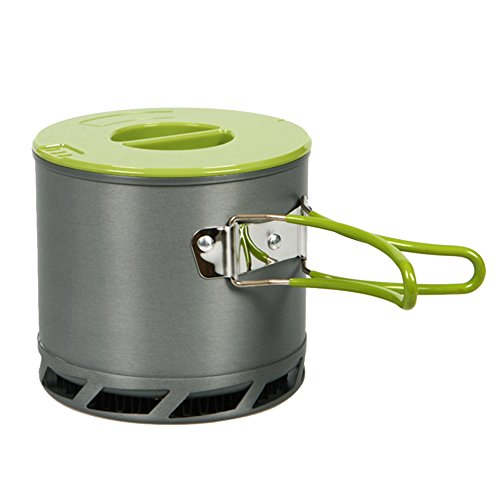 Lixada 1.2L 1-2 People Outdoor Portable Heat Collecting Exchanger Pot Anodized Aluminum Camping Cookware with a Mesh Bag
