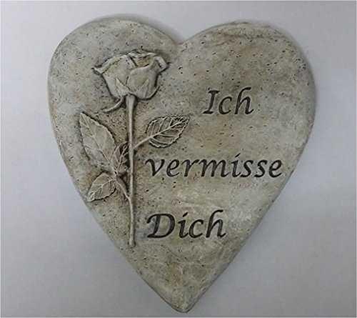 Grabschmuck Herz mit Rose und Spruch Ich vermisse Dich Grabherz Grabschmuck Trauerschmuck Trauerstein Trauerherz Gedenkherz