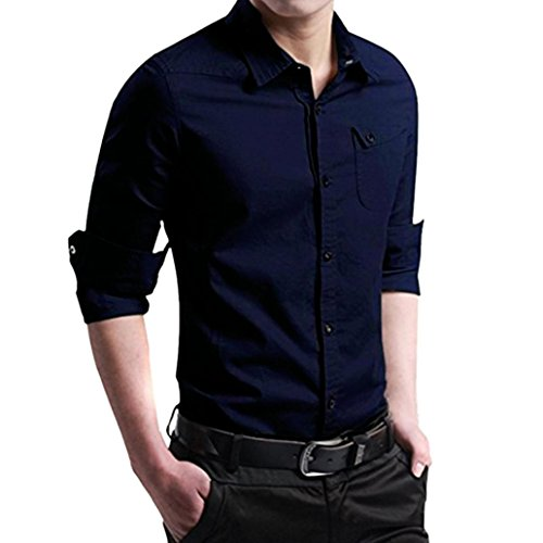 Sannysis Herren Herbst Casual Military Cargo Slim Button Langarm Kleid Shirt Top Bluse Hemden für Männer