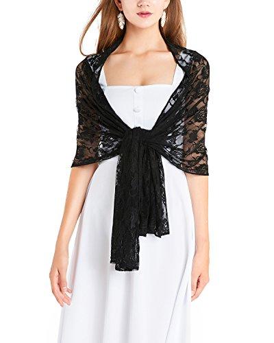 Timormode Spitzen Stolen Damen Tuch Floral Blumen Damen Schal aus Spitzen 10208 Schwarz 180cm*50cm