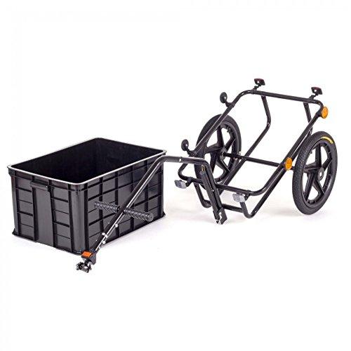 SAMAX Transportanhänger Fahrradanhänger Lastenanhänger Fahrrad Anhänger Handwagen mit Kunststoffwanne für 60 Kg / 70 Liter in Schwarz - 6