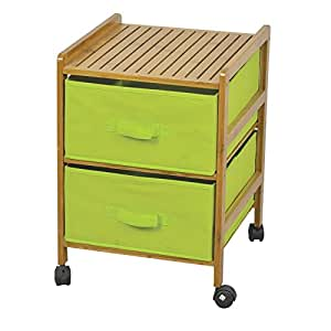 badezimmer schrank regal regalschrank bambus auf rollen 2 gr ne schubk sten k che. Black Bedroom Furniture Sets. Home Design Ideas