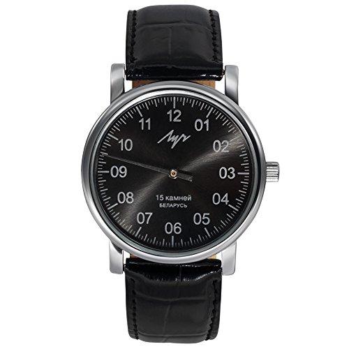 Einzeiger Mittagessen Mechanische Armbanduhr Herren Leder Vintage Schwarz 37471763 RUS