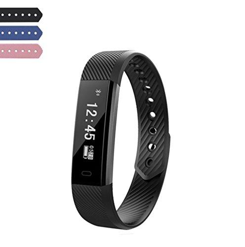 SinHan Wasserdichte Schrittzähler Activity Tracker Watch mit mehreren Sport / Schritte Zähler / Schlaf Monitor / GPS-Armband für Android und iOS Smartphone verbunden (Schwarz) (Gps-marken-liste)