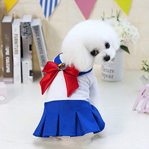 Wenwenzui Cute Uniform Pet Dog Dress Bow Tie Small Dog Clothes Puppy Clothes S-XXL Blue