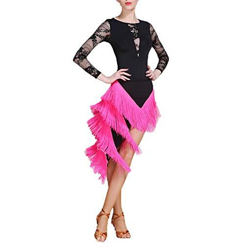 FESSLAND-CL Damen Performance Kleid Frauen Latin Dance Outfit Gesellschaftstanz Kleid Kostüm Set Professionelle Leistung Tanzen Lyrisches Kleid Quaste Rock Dancewear Wettbewerb Kleid (Latin Salsa Tänzer Kostüm)