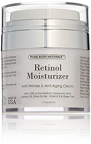 Pure Body Naturals feuchtigkeitsspendende Retinolcreme fürs Gesicht mit aktivem Retinol, Hyaluronsäure, Jojobaöl, Sheabutter und grünem Tee. Beste feuchtigkeitsspendende Nacht- und Tagescreme 48 ml