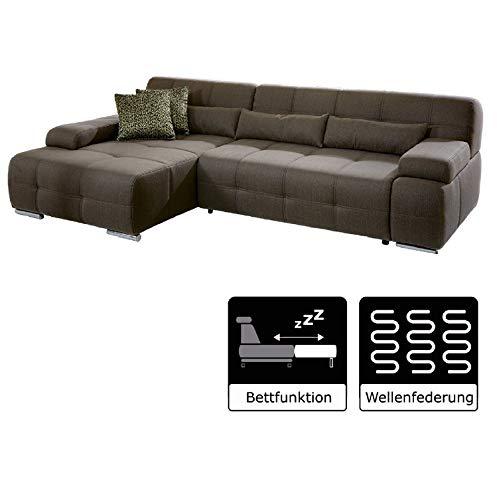 Cavadore Eckcouch Boogies mit Longchair links / Schlaf-Sofa mit ausziehbarem Bett und großer Liegefläche / Rückenecht / Inklusive Nierenkissen / Größe: 268x76x173 (BxHxT) / Farbe: Schlamm (braun)