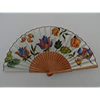Abanico español/abanico pintado a mano/Abanico flores indias/Abanico de madera/Abanico artesanal/Abanico pintado por una cara