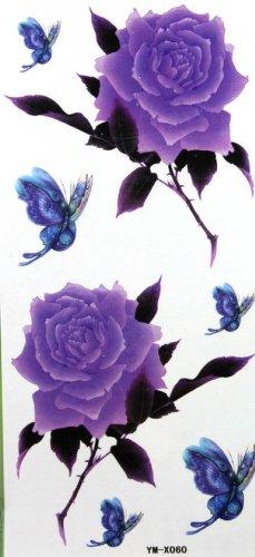 lila-rose-und-schmetterling-tattoo-aufkleber