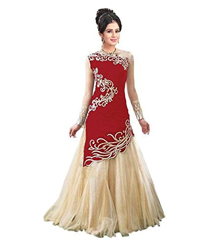 New Designer Red And Beige Colour Velvet Material Wedding, Party,And Fastival Wear...