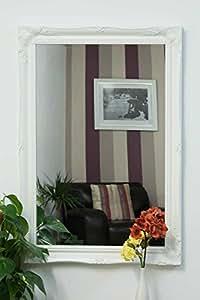 Extra Large Blanc mat Style shabby chic antique Miroir mural rectangulaire avec verre Pilkington de qualité supérieure de qualité supérieure–Dimensions: 76,2x 106,7cm (76cm x 107cm)
