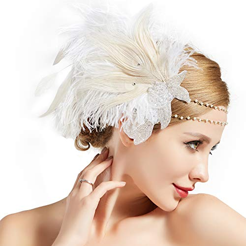 Coucoland 1920s Stirnband Feder Damen 20er Jahre Stil Charleston Haarband Great Gatsby Damen Fasching Kostüm Accessoires (Weiß) (Kostüm Mit Kleid Weiss)