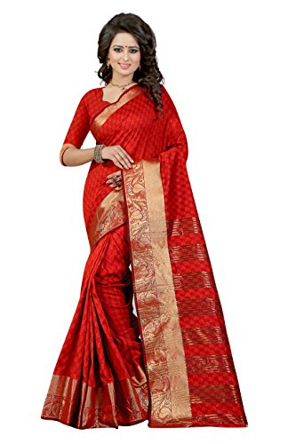 J B Fashion Women's Cotton Silk red Saree With Blouse Piece(sarees for women-Bahubali 2 Red)  available at amazon for Rs.899