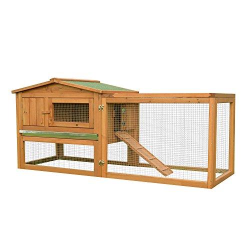 Pawhut Clapier Cage à Lapins rongeurs 2 étages tiroir déjection enclos extérieur Amovible Toit ouvrant 158L x 58l x 68H cm Bois Massif pin