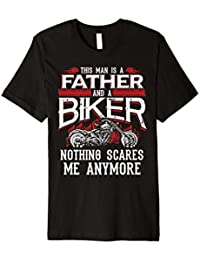 Biker Dad Shirt Funny Fathers Day Motorcycle Nothing Scares