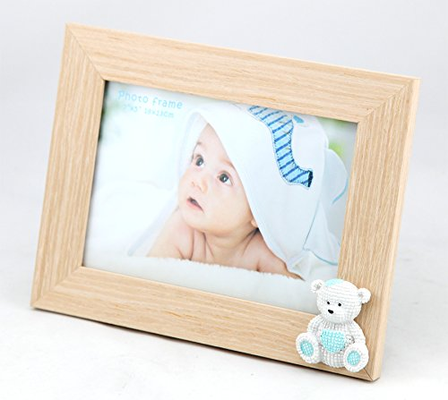 Baby Bear Bilderrahmen 13x18 Blau Rosa Kinder Foto Rahmen Portrait Porträtrahmen: Farbe: Blau