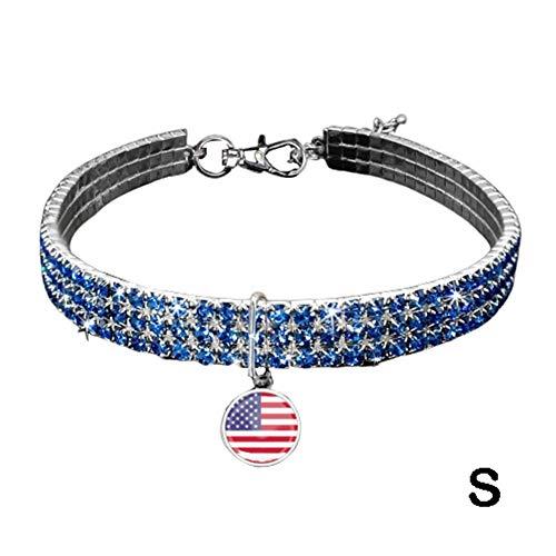 Tomobile Hundehalsband, Pet Halskette, American Independence Day Festival Celebration Flag Kragen elastischen, Leder, für kleine und mittlere Hund Katze -
