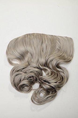 WIG ME UP ® - Extension clip-in large arrière de tête 5 clips bouclée gris argenté résistante à la chaleur WH5008-180C-51