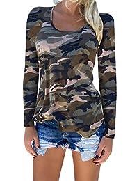 Mujeres Casual Camisetas Camuflaje Camisa Slim Fit tee Camisas Tops Más  Tamaño 8c6f1e39ca7