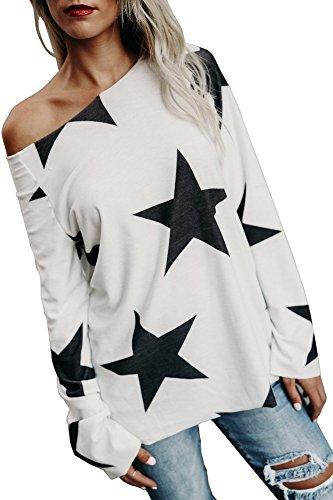 Yidarton Sweatshirt Damen Bluse Elegant Sterne Drucken Shirt Herbst Trägerlos Langarmshirts Locker Hemd Jumper Pullover Tops Oberteile (Weiß, S)