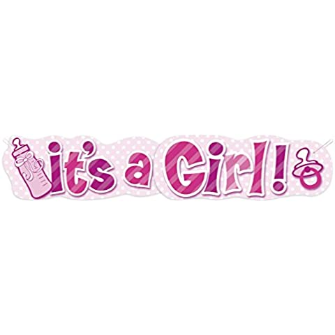 Banner para el nacimiento de un 1,36m muchacha rosada SU cartón Una ducha de la niña