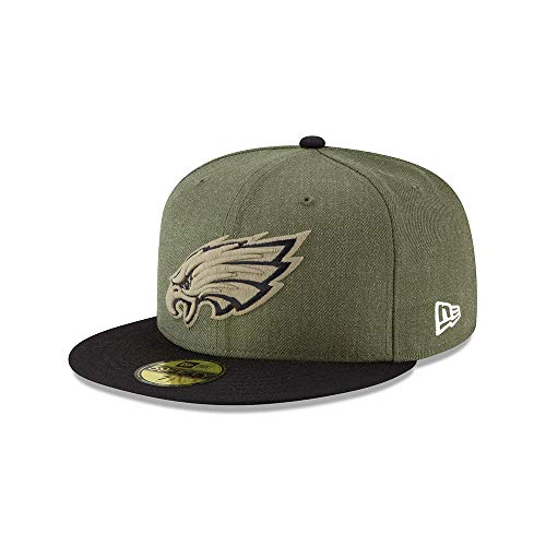 New Era Philadelphia Eagles On Field 18 Salute to Service Cap 59fifty 5950 Fitted Limited Edition, Green, 7 1/2 - 60cm (XL)