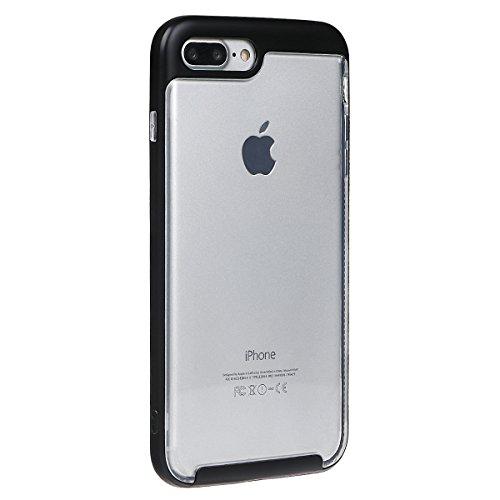 """Housse pour iPhone 7 Plus, xhorizon TM MLK Housse Fine 2 en 1 Transparent Prise Renforcée Coussin pour iPhone 7 Plus [5.5""""] avec 9H film de protection verre trempée Noir +9H Glass Tempered Film"""