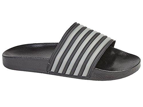 Foster Footwear ,  Jungen Herren Unisex Erwachsene Schieber Schwarz / Grau