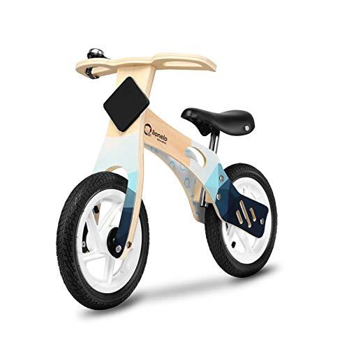 Lionelo Willy Laufrad Holz Laufrad ab 2 Jahre bis zu 25 kg Verstellbarer Sattel 12 Räder Lenkschloss Klingel Schild mit Kreide zum Dekorieren Ultra Leicht (Indygo Air mit Luftreifen)
