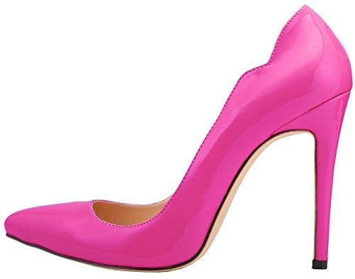 HooH Femmes Bonbons Couleur Stiletto Mariage Pumps Violet