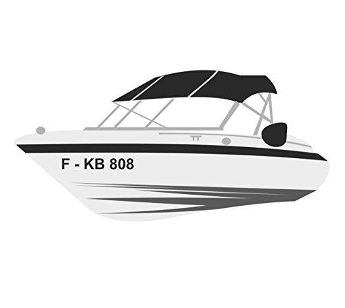 Melis Folienwerkstatt Bootskennzeichen - 2 Stück Boot Kennzeichen - 10cm Höhe - Bootsname Bootsbeschriftung Motorboot Bootsaufkleber Schiff - A10