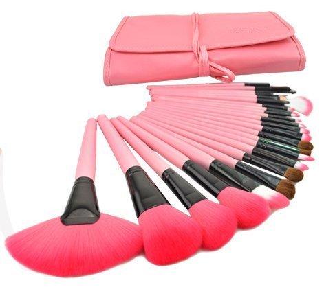 topsuper® Madera 24pcs Pinceles de maquillaje Kit profesional cosméticos Make Up Brush Set, color rosa