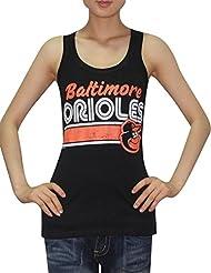 MLB Mujer Baltimore Orioles deportivo de cuello redondo Camiseta de (Vintage), MLB, mujer, color negro, tamaño large