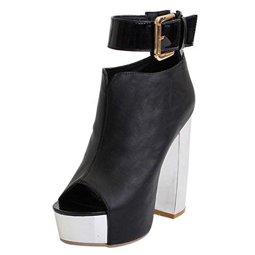 COOLCEPT Damen Mode Knochelriemchen Sandalen Open Toe Blockabsatz Schuhe Mit Zipper Schwarz