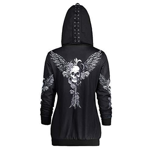 Yuandongxing Sudaderas Góticas Mujer Cráneo Halloween Punk...