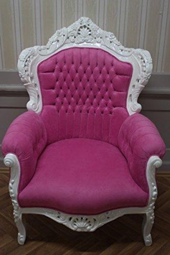 LouisXV Sillón barroco fauteuille en blanco AlCh0500WeRs rococó estilo antiguo color crema